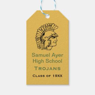 Het gouden Groene Retro Trojan Label van de Gift Cadeaulabel