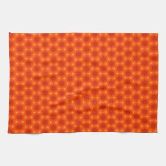 Het gouden Hexagon Patroon van de Oranje Keukenhanddoek
