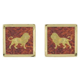 Het gouden houten Patroon van Burl van de Leeuw Vergulde Manchetknopen