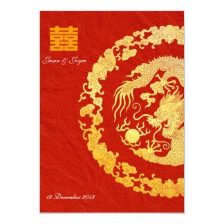 Het gouden huwelijk RSVP van het draak klassieke Kaart