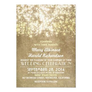 Het gouden Huwelijk van Glam van de Lichten van 12,7x17,8 Uitnodiging Kaart