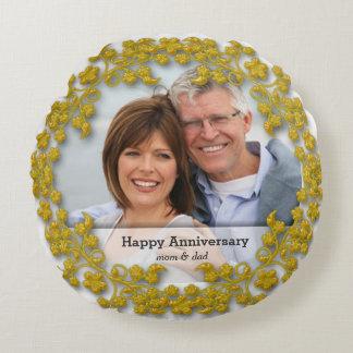 Het gouden Jubileum van het Huwelijk met een foto Rond Kussen
