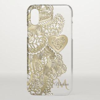 Het Gouden Kant van het monogram en Keltisch Hart iPhone X Hoesje