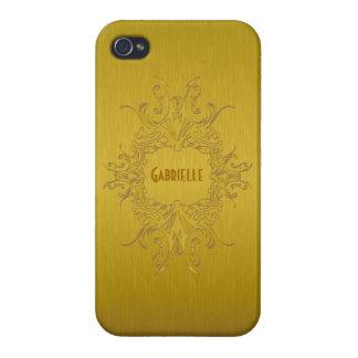 Het gouden MetaalOntwerp Geborstelde Aluminium van iPhone 4 Hoesje