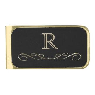 Het gouden Monogram van de Werveling Vergulde Geldclip