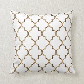 Het Gouden Patroon Quatrefoil van de textuur Sierkussen