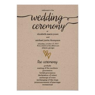 Het gouden Programma van het Huwelijk van het 12,7x17,8 Uitnodiging Kaart
