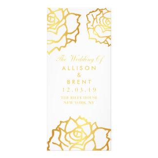 Het gouden Programma van het Huwelijk van Rozen - 10,2x 22,9 Cm Reclamekaart