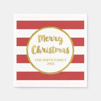 Het gouden Rode Servet van Kerstmis van Strepen Wegwerp Servet