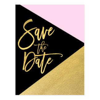 Het gouden Roze Zwarte Moderne Manuscript van de Briefkaart