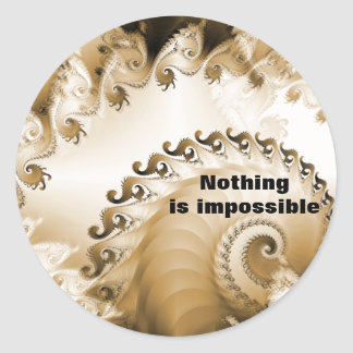 Het gouden Strand Shell niets is Onmogelijke Ronde Sticker