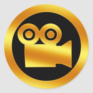Het gouden Symbool van de Filmcamera Ronde Sticker