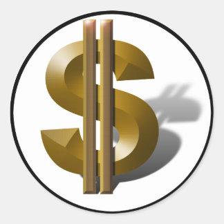 Het gouden Teken van de Dollar Ronde Sticker