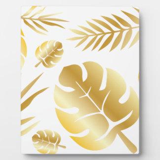 Het gouden tropische ontwerp van het bladeren fotoplaat