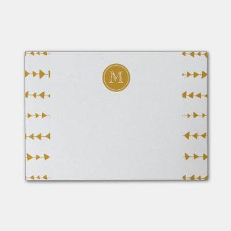 Het gouden Witte Azteekse Monogram van Pijlen Post-it® Notes