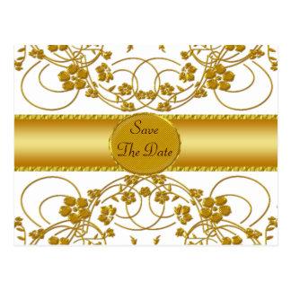 Het gouden & Witte BloemenMonogram van het Briefkaart