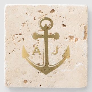 Het gouden ZeevaartMonogram van het Huwelijk van Stenen Onderzetter