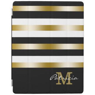 Het gouden Zwarte Witte Monogram van de Douane van iPad Cover