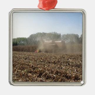 Het graangewas van het maaidorsen op gecultiveerd zilverkleurig vierkant ornament