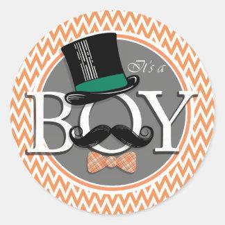 Het grappige Baby shower van de Jongen; Oranje en Ronde Sticker