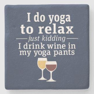 Het grappige Citaat van de Wijn - ik drink wijn in Stenen Onderzetter
