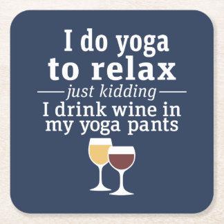 Het grappige Citaat van de Wijn - ik drink wijn in Vierkante Onderzetter