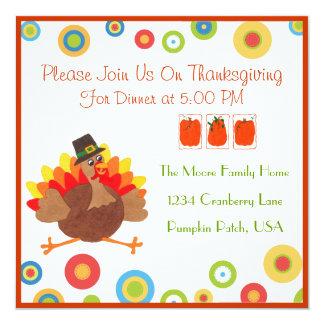 Het grappige Diner van de Thanksgiving van Turkije 13,3x13,3 Vierkante Uitnodiging Kaart