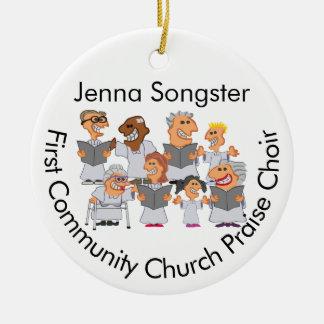 Het grappige Gepersonaliseerde Koor van de Kerk Rond Keramisch Ornament