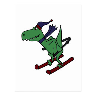 Het grappige Groene Ski?en van de Dinosaurus Trex Briefkaart