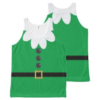Het grappige Groene XL Elf van Kerstmis in de All-Over-Print Tank Top