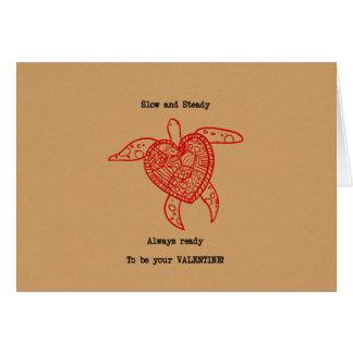 Het grappige Hart Valentijn van de Schildpad Wenskaart