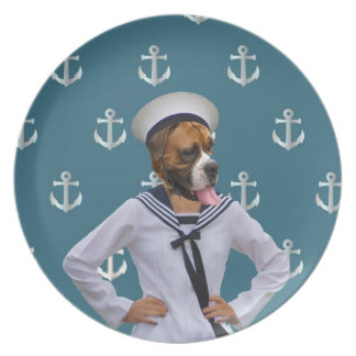 Het grappige karakter van de zeemanshond melamine+bord