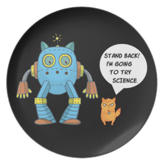Het grappige Katachtige Katje van de Wetenschap en Melamine+bord