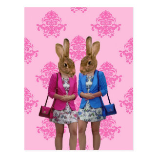 Het grappige konijnmeisjes gaande winkelen briefkaart