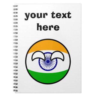 Het grappige Neigen Geeky India Countryball Ringband Notitieboek