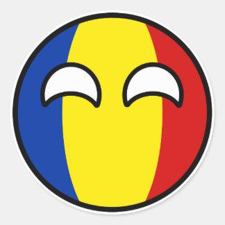 Het grappige Neigen Geeky Roemenië Countryball Ronde Sticker
