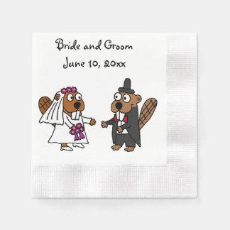 Het grappige Ontwerp van het Huwelijk van de Bever Papieren Servetten