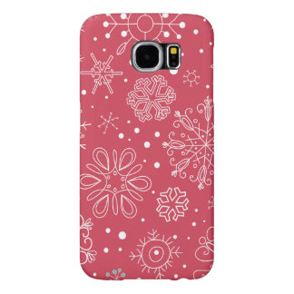 Het grappige Rode Patroon van Sneeuwvlokken Samsung Galaxy S6 Hoesje