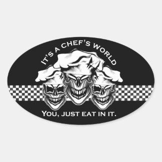 Het grappige Trio van de Schedel van de Chef-kok: Ovale Sticker