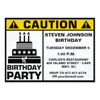 Het grappige Uithangbord van de Voorzichtigheid 12,7x17,8 Uitnodiging Kaart