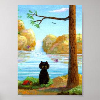 Het grappige Zwarte Meer van de Waterval van de Poster