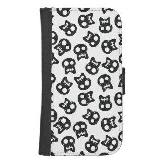 Het grappige zwarte patroon van de Schedel Galaxy S4 Portemonnee Hoesje