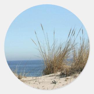 Het Gras van het strand en OceaanStickers Ronde Sticker