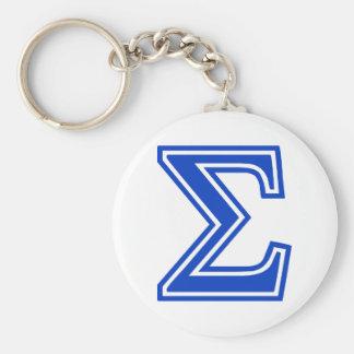 Het Griekse Blauwe Aanvankelijke Monogram van de S Basic Ronde Button Sleutelhanger