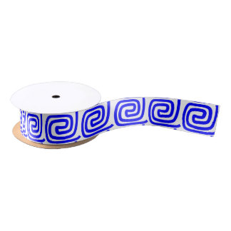 Het Griekse Traditionele Blauwe Wit herhaalt Satijnen Lint