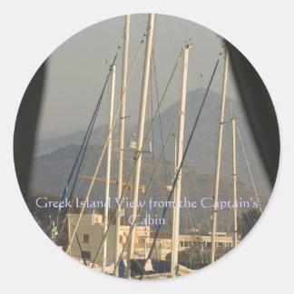 Het Griekse Uitzicht van het Eiland van Ronde Sticker