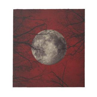 Het griezelige Print van Halloween van de Maan Notitieblok