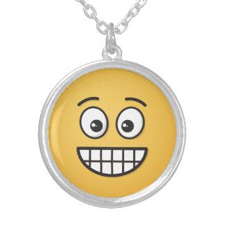 Het grijnzen Gezicht met Open Ogen Zilver Vergulden Ketting