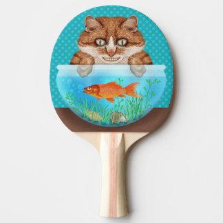 Het Grijnzen van de Kom van de kat en van de Tafeltennis Bat