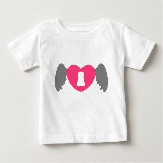 Het grijs-Roze van de Vleugel van het Hart van het Baby T Shirts